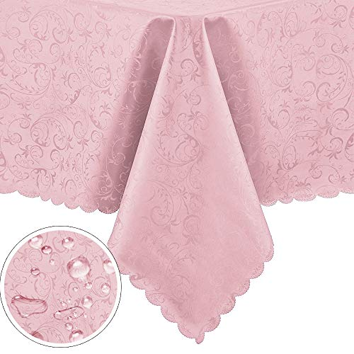 Pink Vinyl Tablecloth (PENGSHE Rectangular Tablecloths Easy Care Dinning Table Cover Waterproof Oil-Proof Spill-Proof Durable Tablecloth (Pink,)
