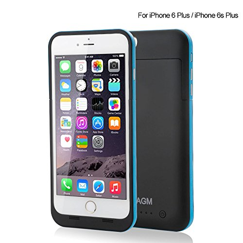 AGM® Smart Design Powerful 5800mAh External Rechargeable Protective Battery Functional Charger Case Cover for iPhone 6 Plus (5.5 inch) (blue) (Ipod 5c Cases For Protective)