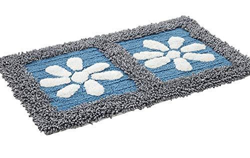 ZebraSmile Flower Washable Chenille Heavy Non-Skid Bath Rug Home Bedroom Door Mat Entry Doormat Entryway Rug Carpet for Bedroom Indoor Mat Non Slip Bathroom Floor Rug, Blue(17.7 X 27.5IN/45 X 70 cm) ()