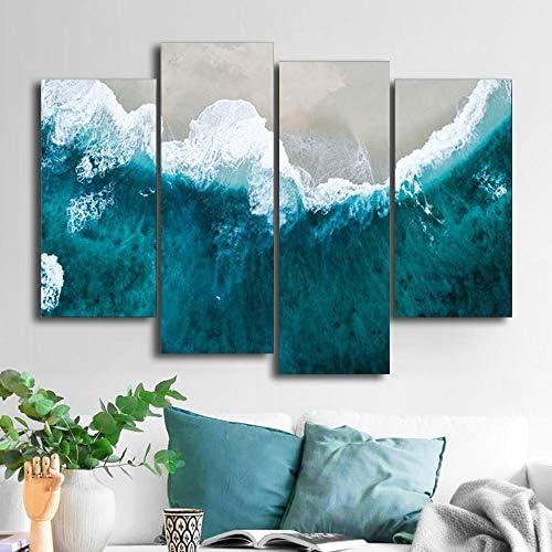 海波ビーチ壁写真ポスター印刷キャンバス絵画書道装飾用リビングルームの寝室の家の装飾40X80Cmx2 40X100Cmx2なしフ