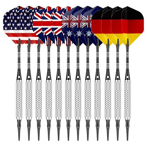 Sametop Soft Tip Darts Set 12 Packs Darts 16 Grams with 5 Style Flights, Aluminum Shafts, Silver Steel Barrels, 100 Dart Tips and Darts Tool