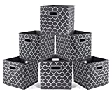 Cloth Storage Bins,Flodable Cubes Box Baskets Containers Organizer for Drawers,Home Closet, Shelf,Nursery, cabinet, with Dual Plastic Handles,Gray with Lantern Pattern Large Set of 6