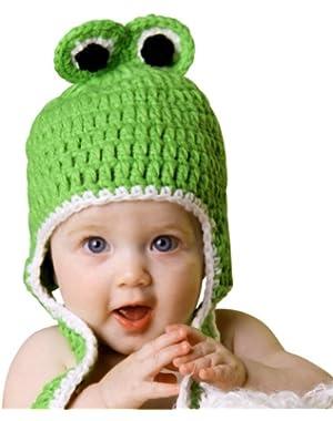Melondipity Boys Froggy Earflap Crochet Baby Hat - High Quality Green Beanie