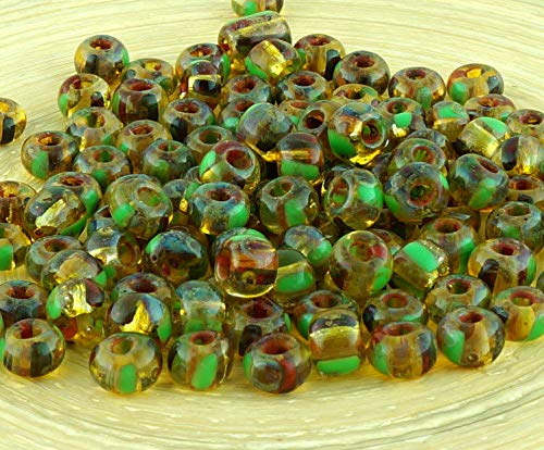 (Anissa Picasso Crystal Yellow Green Dark Red Striped Rustic Earthy Tribal Round 1/0 Czech Glass Large Hole Seed Beads Spacer 20g)