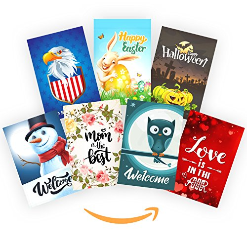 Garden Flags Set of 7, Seasonal Outdoor House Banners, Doubl