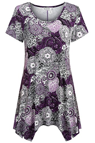 Nandashe Purple Shirts for Women, Woman Latest Short Sleeves Cowl Neck Cotton Blend Floral Tunic Pullover for Skirts Lavender Color Medium