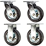 Service Caster - 6'' Black Pneumatic Rubber Wheel – 2 Swivel and 2 Rigid Casters - Set of 4