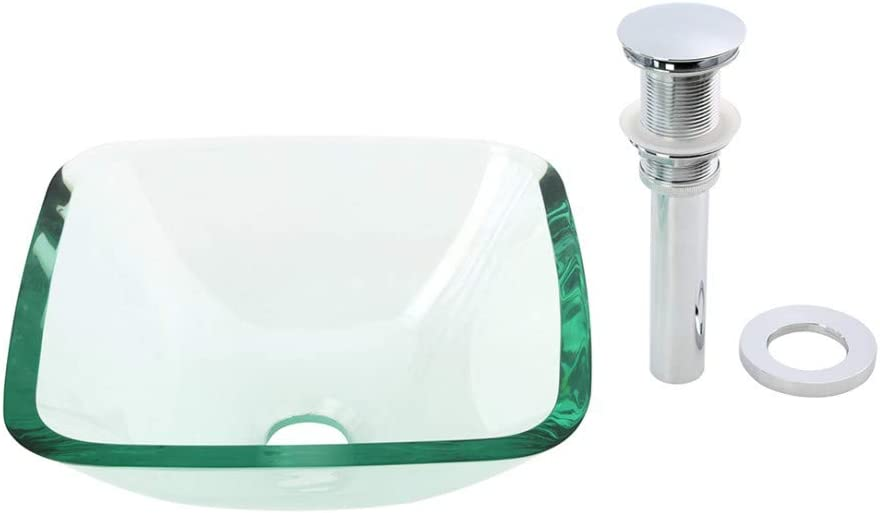 Tempered Glass Vessel Sink With Drain, Clear Mini Bowl Sink Renovator s Supply