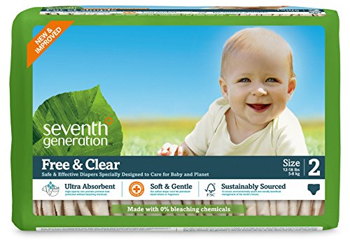 Seventh Generation Baby Diapers, Free and Clear for Sensitive Skin, Original Unprinted, Size 2, 180 Count