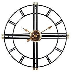 FCZH Large Metal Black Skeleton Oversized Kitchen Wall Clock Retro Vintage Wall Clock, 3D Silent Non-Ticking, Black Living Room Clock,24inch