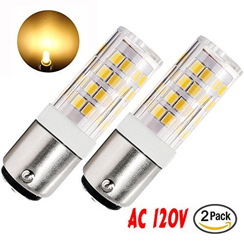 McDen BA15D LED Bulb Dimmable 120v 5W Double Contact Bayonet Base JD Type T3 T4 Bulb 50W 60W Halogen Replacement Warm White 3000K (Pack of 2)
