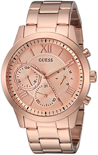 (GUESS  Classic Rose Gold-Tone Bracelet Stainless Steel Watch with Day, Date + 24 Hour Military/Int'l Time. Color: Rose Gold-Tone (Model: U1070L3))