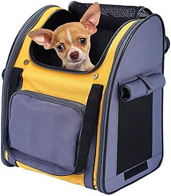 Mochila Plegable Transportin para Perro Gato Cachurro Gatito Mascota Pequeña, Transportín Portador Bolsa de Transporte Respirable Impermeable Peso de hasta 8 kg para Viaje Avión (Gris + Amarillo): Amazon.es: Productos para mascotas