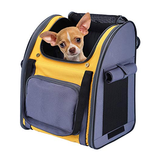 PETTOM Pet Backpack Carrier for Small Dogs Cats Puppies Bunny, Pet Carry Bag with Ventilated Design, Sun-proof Curtains, Two-Sided Entry, Head Window, Removable Fleece Mat for Outdoor Travel Hiking