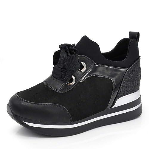 sports shoes 78ba0 ceafb Scarpe Donna Ginnastica Sneakers Zeppa Sportive Casual Platform Stringate  Lacci para CR0350