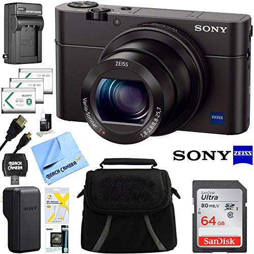 Cyber Shot Still Camera - Sony DSC-RX100M III Cyber-shot Digital Still Camera Bundle with 64GB Card, 2 Spare Batteries, Rapid AC/DC Charger, SD Card Reader, Case, LCD Screen Protectors, and Table top Tripod