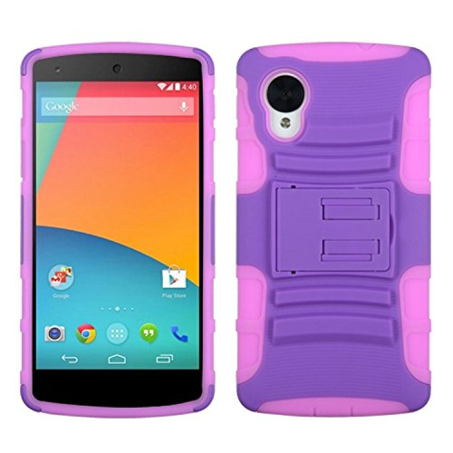 MYBAT Advanced Armor Kickstand Protector Cover for LG D820 Nexus 5 - Retail Packaging - Purple/Electric Pink (Nexus 5 Phone Case Purple)