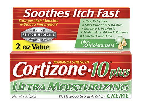 Cortizone-10 Plus Ultra Moisturizing Cream, 2 oz, Anti-Itch Cream with Aloe Vera and Vitamin A, Helps Relieve Dry, Itchy Skin, Skin Irritations and Rashes, Eczema and Psoriasis