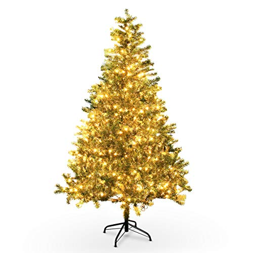 BELLEZE 6-feet Pre-Lit Classic Christmas Tree w/ 250 Clear Light Prelit Spruce Hinged Artificial Xmas Tree with Solid Metal Legs Holiday Decoration (Christmas White Fake Target Tree)