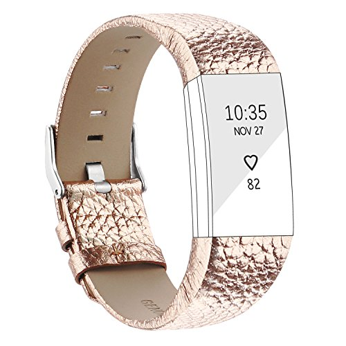 POY Replacement Bands Compatible for Fitbit Charge 2, Genuine Leather Wristbands, Rose Gold