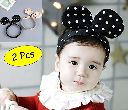 Smartown Baby Girls Headband Cute Bunny Ear Minnie Mouse Headwrap Rabbit Mouse Ears Bow Hoops Infant Headwear Turabn Hairband Easter Headgear Gift for Newborn - 2 Pcs