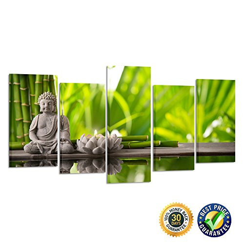 22' Art Print Poster (Kreative Arts- Modern Canvas Wall Art Pictures 5 Panels Framed Artwork Paintings For Living Room Home Decor Buddha Green Bamboo Stones Zen Prints and Posters Painting (Medium Size : L 40'' x H 22''))
