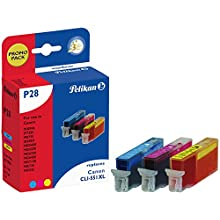 Pelikan P28 CMY cartucho de tinta Cian, Magenta, Amarillo 12 ml - Cartucho de tinta para impresoras (Tinta a base de pigmentos, Cian, Magenta, Amarillo, 3 pieza(s), Canon PIXMA iP7250, iP8750, iX6850, MG5450, MG5550, MG5650, MG6350, MG6450, MG6650, MG7150,..., 12 ml, Canon CLI-551XL)