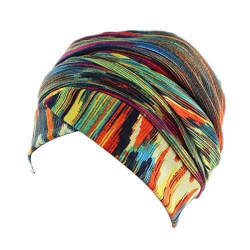 (Women Turban Hat Head Wrap - Multi Colour Black African Jersey Magic Headband Turbans Headwrap Tube Scarf Tie Hijab For Hair Muslim Bohemian Boho Chemo)