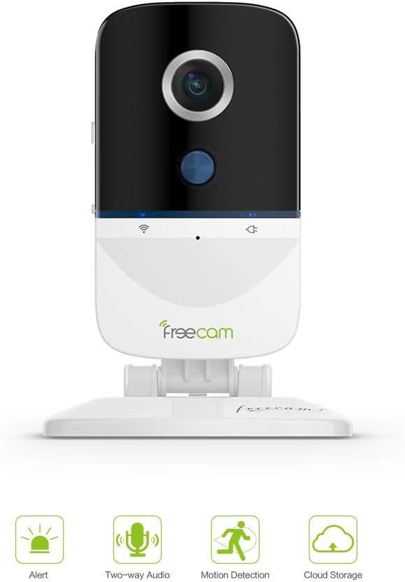 Freecam Cam/éra de s/écurit/é int/érieure 1080P,Alarme vid/éo,Surveillance de s/écurit/é IP,d/étection de Mouvement,Audio bidirectionnel pour Maison//Bureau//B/éb/é//Baby-Sitter//Animal de Compagnie,S