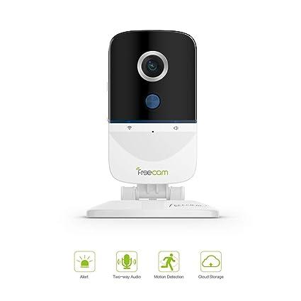 Cámara WiFi FREECAM cámara de Seguridad activada por Movimiento Charla bidireccional con Alarma de Sirena, detección de intrusión sospechosa ...