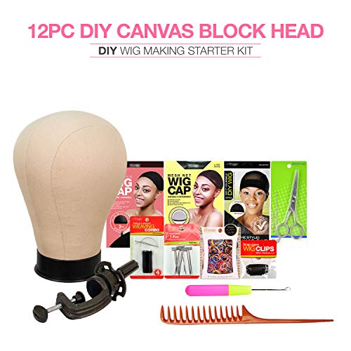 Studio Limited Canvas Block Head DIY Wig Making Starter Kit 12pcs, Long Neck (12