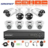 [Newest] HD Security Camera System,SMONET 8CH 1080N Home Security System(1TB Hard Drive),8pcs HD Outdoor/Indoor Cameras,Surveillance Camera System with Super Night Vision,P2P,Free APP,NO Monthly Fee