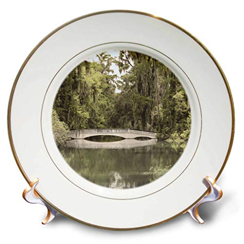 3dRose Stamp City - architecture - Photograph of white bridge at Magnolia Plantation and Gardens. - 8 inch Porcelain Plate (cp_289749_1)