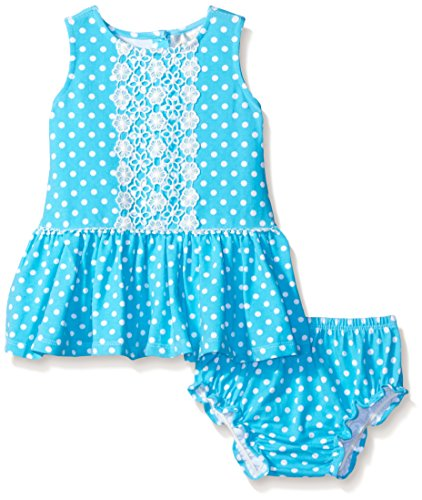 Rare Editions Baby Little Girls' Dot Drop Waist Dress with Lace Trim, Turquoise/White, 18 Months - Rare Editions Baby Dresses