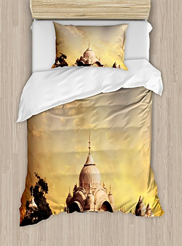 Imperial Palace Duvet - Ambesonne Asian Duvet Cover Set Twin Size, Ancient Antique Old Monumental Temple with Historical Asian Imperial Palace Picture, Decorative 2 Piece Bedding Set with 1 Pillow Sham, Multicolor