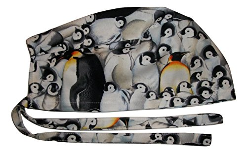 Onebasispoint Scrub Hat Cute Penguins Cotton Nurse Cap Tie Back Doctor ER Do-Rag Skull