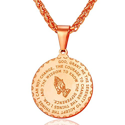 RONLLNA Bible Verse Prayer Necklace Free Chain Christian Jewelry Stainless Steel Praying Hands Coin Medal Pendant (Rose Gold)