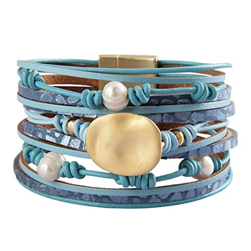 - AZORA Leather Cuff Bracelets for Women Hand Braided Pearl with Goldplated Metallic Wrap Bracelet Gorgeous Bohemian Bangle Jewelry Gift for Women Teen Girls Sister Mum