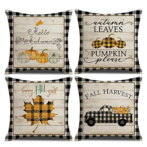 KACOPOL Fall Decorative Pillow Covers Buffalo Plaids Pumpkin Maple Leaves Fall Harvest Truck Farmhouse Decor Cotton Linen Throw Pillow Case Cushion Cover 18