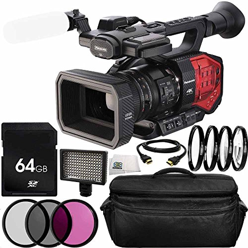 Panasonic AG-DVX200 4K Handheld Camcorder (International Model) No Warranty 12PC Accessory Bundle. Includes 64GB SD Memory Card + 3PC Filter Kit (UV-CPL-FLD) + MORE by SSE