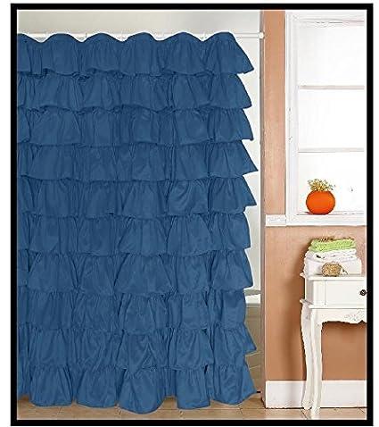 Ruffled Navy Blue Fabric Shower Curtain