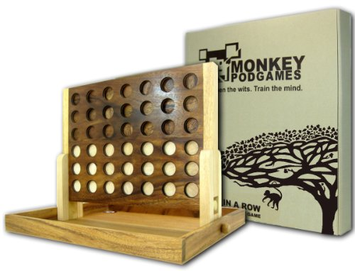 MONKEY POD GAMES Extra Large Wooden Four in a Row Game -