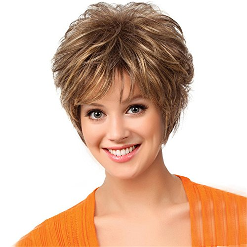 Mufly Short Fluffy Synthetic Hair Wigs Side Bangs Blend Capless Wigs for Lady Women Daily& Wedding Wear 8 - Warehouse Me Near Store