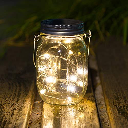 WED Solar Mason Jar Hanging Lights with 20 LED (Jars & Handles Included), Warm White Waterproof Fairy Firefly Led String Mason Jar Lights, for Patio, Yard, Garden, Party, Wedding, Christmas Decor]()