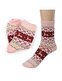 Tenworld Mens Women Winter Warm Casual Knit Wool Socks Christmas Deer Design