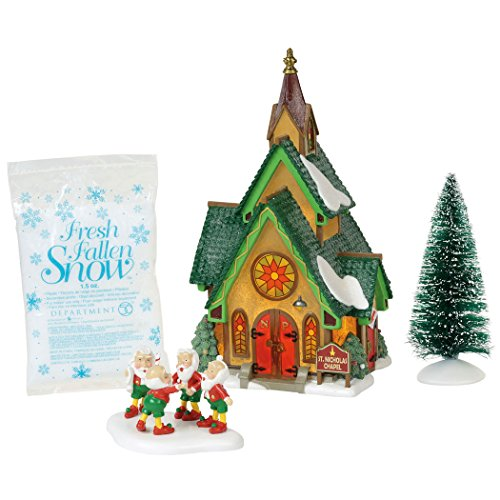 Department 56 North Pole Village Series St. Nicholas Chapel Lit Building and Accessories 8.25