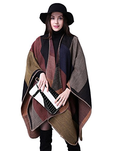 Gihuo Women's Color Block Plaid Open Front Shawl Poncho Cape Wrap Cardigan (Khaki) by Gihuo