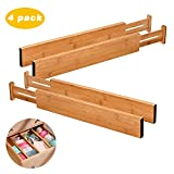 bamboo bedroom set ShineMe Drawer Dividers Bamboo Set of 4 Kitchen Separators Organizers, Spring Adjustable & Expendable, Suitable for Bedroom, Baby Drawer, Bathroom and Desk
