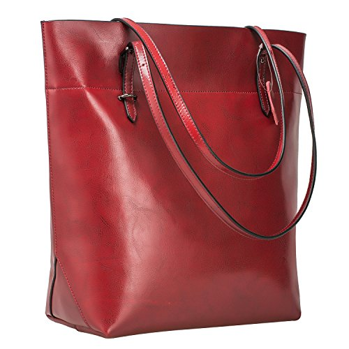 S-ZONE Vintage Genuine Leather Tote Shoulder Bag Handbag Big Large - Zipper Double Tote