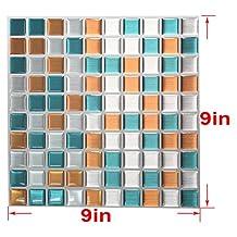 "Wootile 9X9"" Peel and Stick Adhesive Vinyl Wall Tiles,Wood Modern Kithen Mosaic Vinyl Tile, Pack of 10"